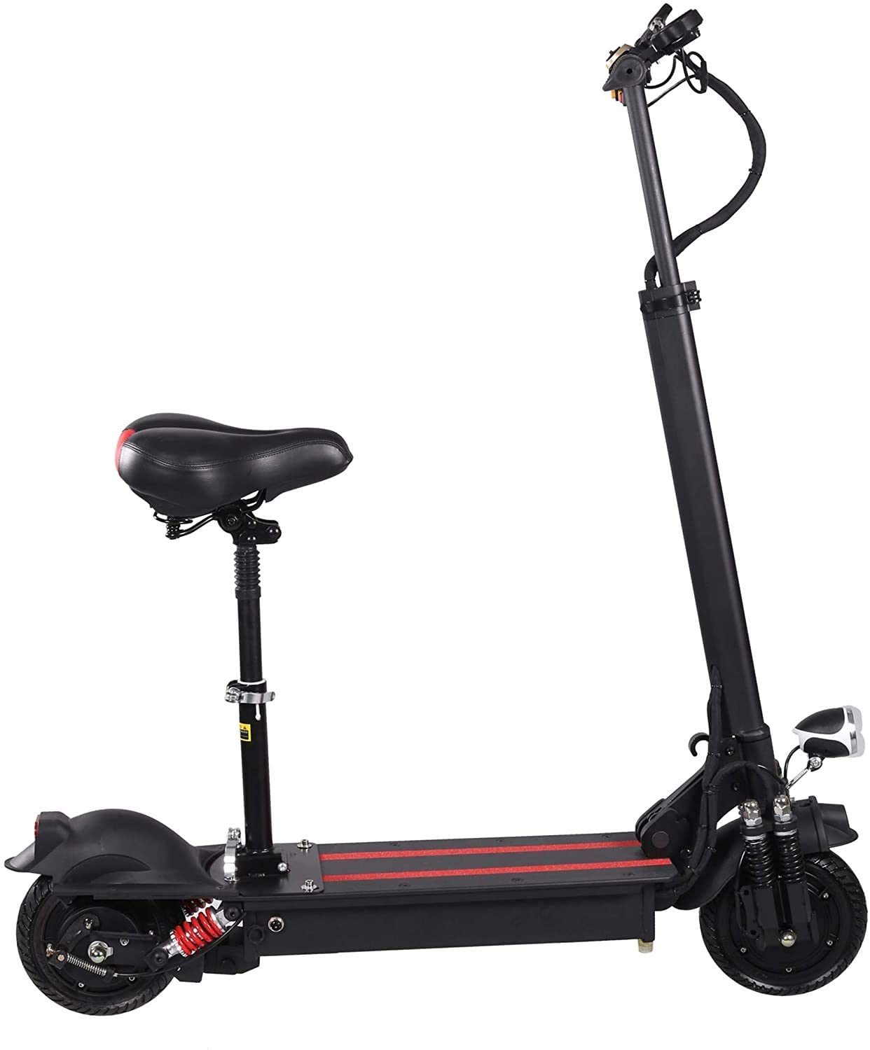 QX Scooter Electric Scooters Adult Foldable, 200 Kg Max Load with Seat 10 inch 50Km/H, Lithium Battery 48V 23Ah, 1000W Rear Wheel Single Motor Drive with Led Light and Hd Display,100Km Range,Black