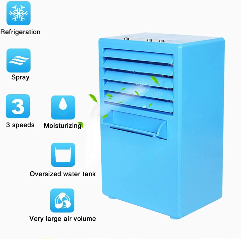 Small Portable Air Conditioner Fan,personal Air Cooler Spray Air Humidifier for Outdoor Room Camping Office Mute Evaporative Cooler Blue 6x9inch