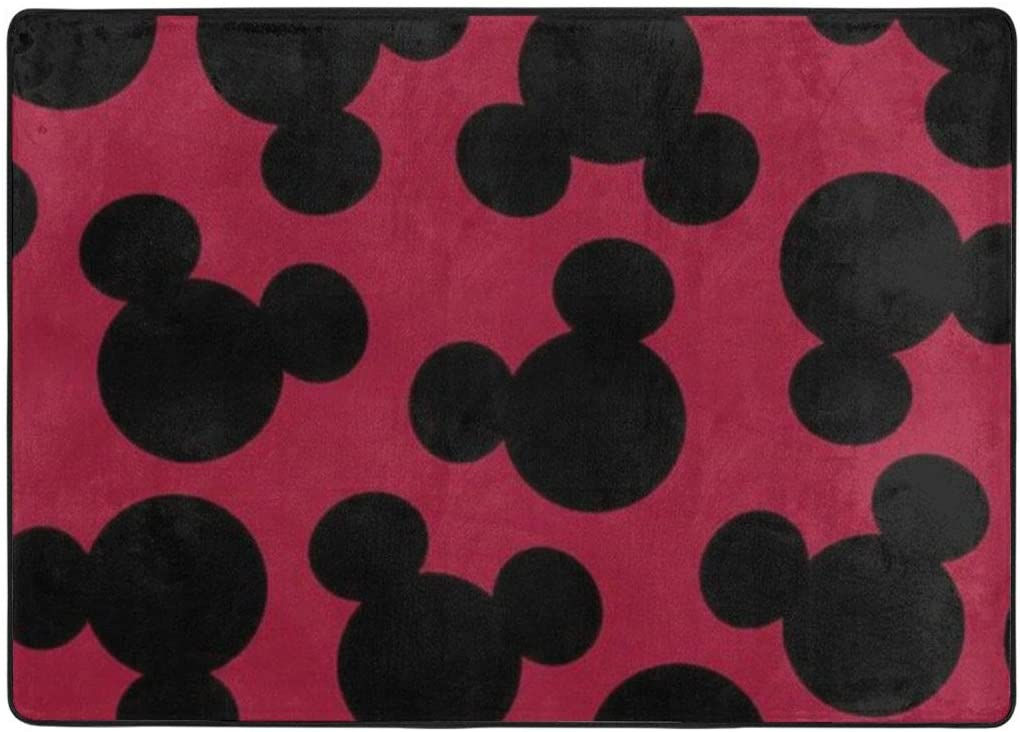 ZWDSA Area Rugs Anti-Skid Carpet Red Mickey Mouse Minnie Head Carpet Indoor Home Decoration for Any Floor Bedroom Hallway Kids Room Kindergarten Gift 84 X 60 Inch