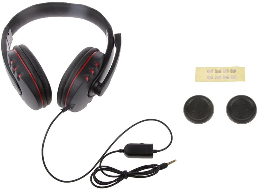 Fenteer 3.5mm Gaming Headphone Headset w/ MIC+ Replacement Flat Directional D-Pad Cap for Sony PS4 Game Console