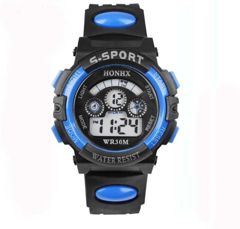 IEason,Waterproof Mens Boys Digital LED Quartz Alarm Date Sports Wrist Watch (A)