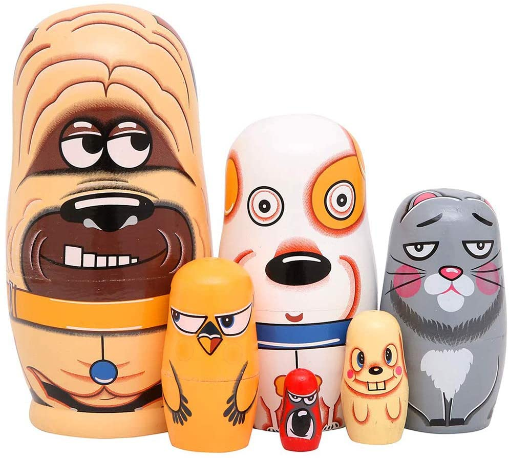 ocijf179 6Pcs/Set Wooden Cute Dog Russian Nesting Dolls Toy Handmade Crafts Desktop Decor,Perfect Training Children's Intelligence Gifts