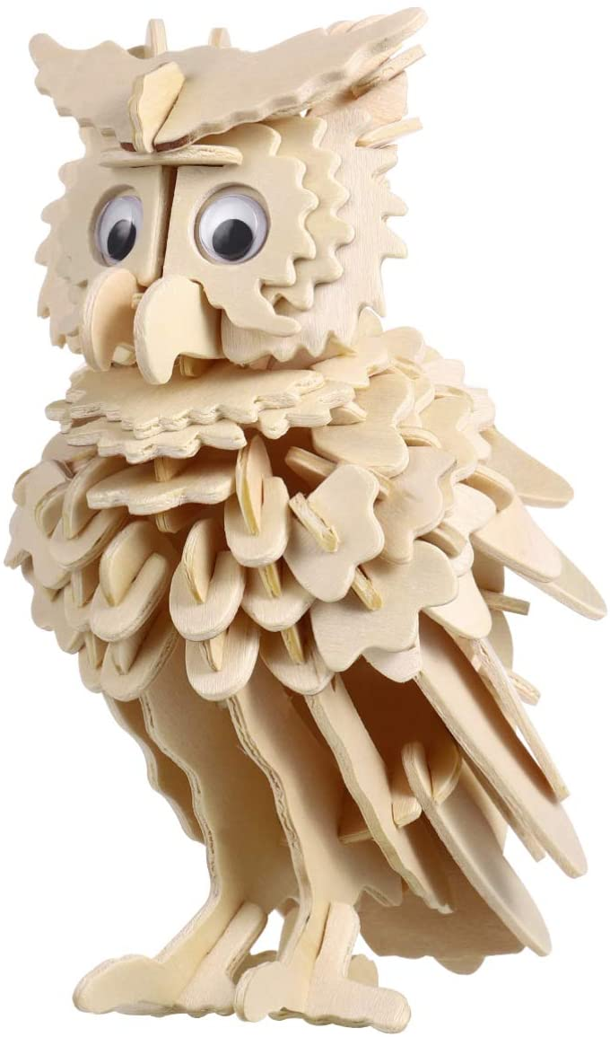 TOYANDONA 1pcs 3D Wooden Puzzle Wood Craft Kits Owl Model DIY Building Puzzle for Kids and Adults