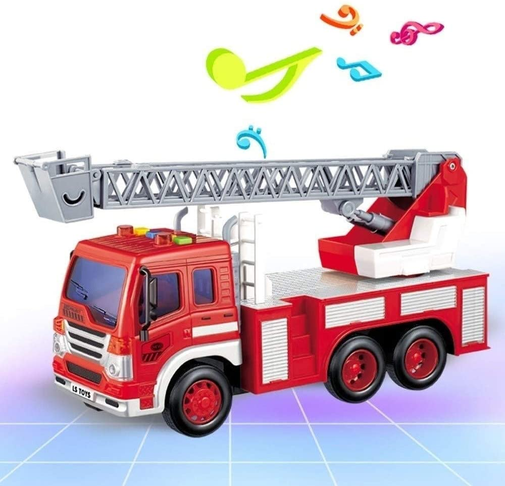 Xuess 2-Wheel Drive Rescue RC Fire Engine Truck Remote Control Fire Truck Lights Siren and Extending Ladder Resistant to Impact Educational Toys