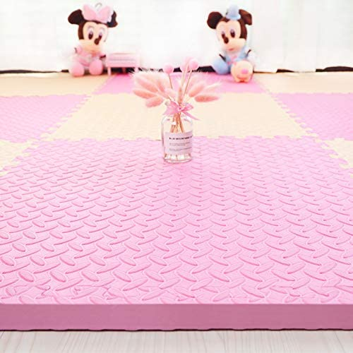 HOMRanger Solid Color Interlocking Carpet,Large Kid's Puzzle Exercise Foam Crawling Play Mat Puzzle Rug for Tiles Living Room B 60602.5cm(4 Pcs)