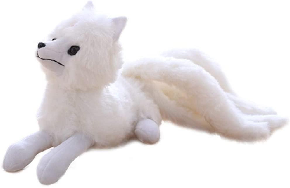 Zzlush Plush Doll Figurine Toy Pet Pillow Animal, Super Cute Soft White Nine Tails Fox Plush Toys Stuffed Animals Nine-Tailed Fox Kyuubi Kitsune Dolls Creative Gifts for Girls (Size : 2656CM)