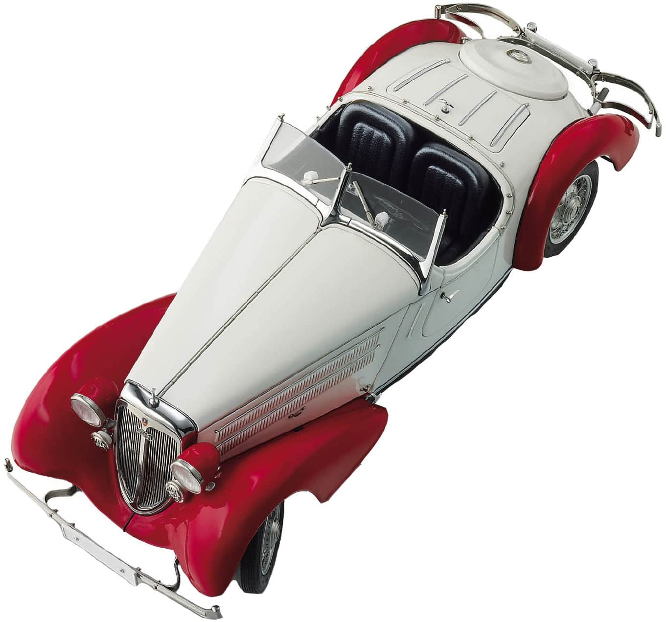 CMC-Classic Model Cars Audi 225 Front Roadster, Red/White Limited Edition 1:18 Scale Detailed Assembled Collectible Historic Antique Vehicle Replica