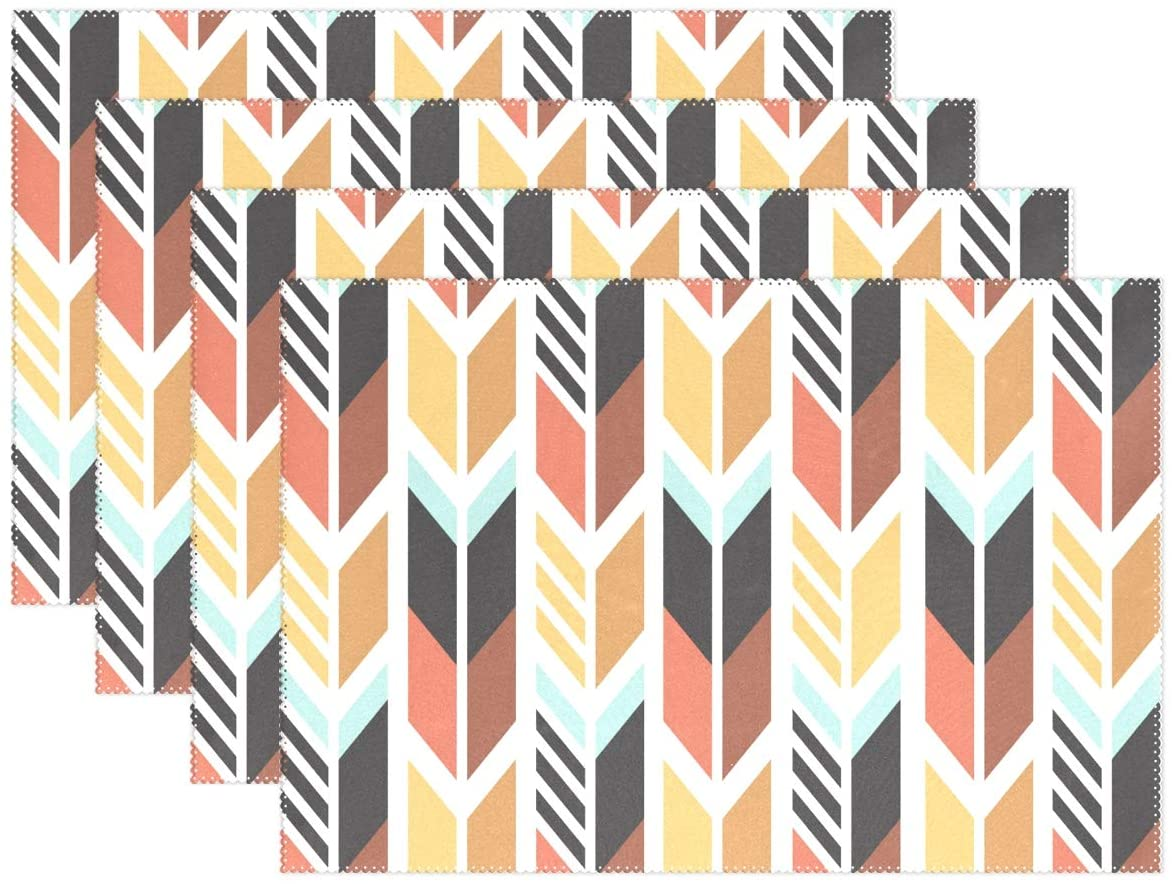 Set of 6 Place Mats Colorful Ethnic Pattern Arrows Non-Slip Washable Kitchen Heat-Resistant Home Decor Dining Tablemats 12x18in