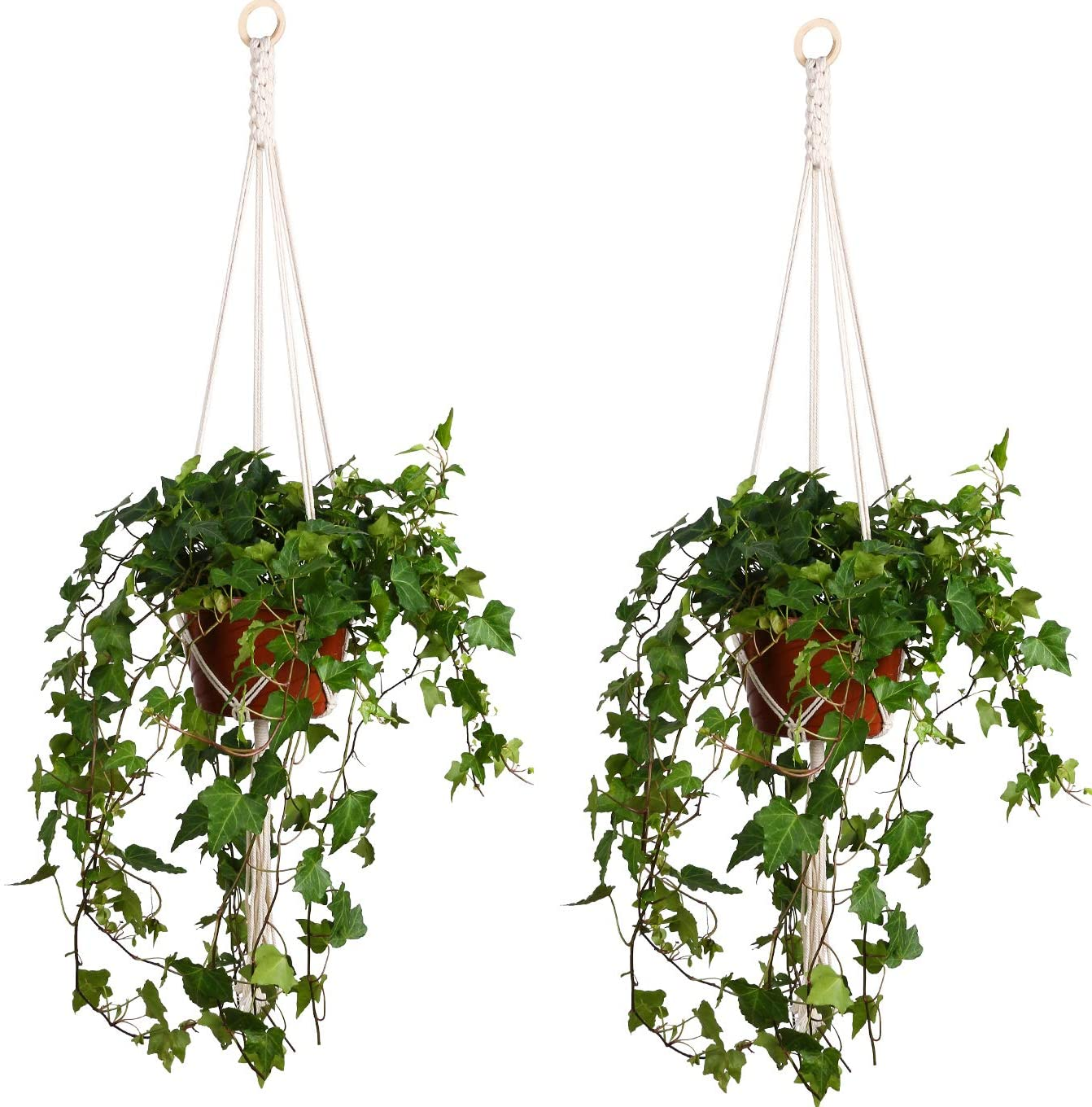 Lanker Plant Hanger Indoor Outdoor Hanging Planter Basket Cotton Rope with Beads 41Inch 2 Pcs KD09B
