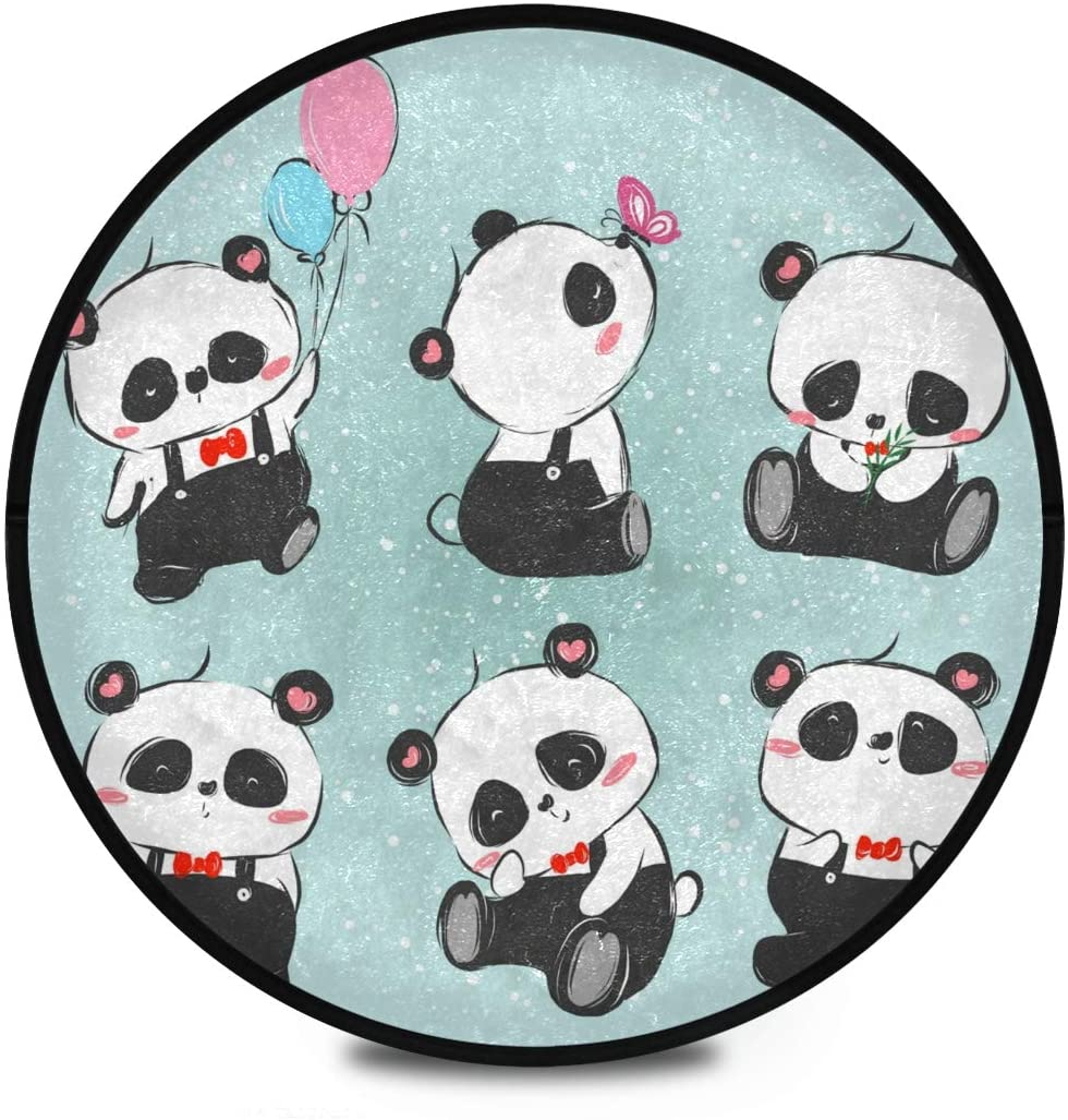 Shaggy Round Mat Panda Series Small Round Rug for Kids Bedroom Anti-Slip Rug Room Carpets Play Mat