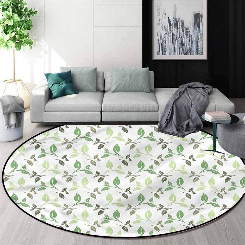 RUGSMAT Leaf Non-Slip Area Rug Pad Round,Tea Leaves Faded Colors Circle Rugs for Living Room Round-35