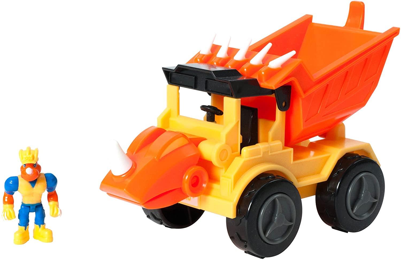 Educational Insights Dino Construction Company Rocko the Styracosaurus Dump Truck,Yellow