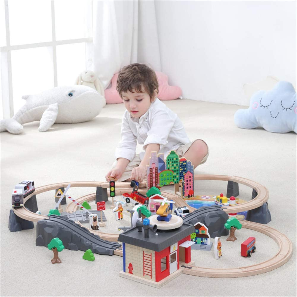 Toy Train Set- 99 Piece Wooden Track & Train Pack,Kids Friendly Building & Construction Toy,Expandable,Changeable for 3+ Years Old Girls & Boys