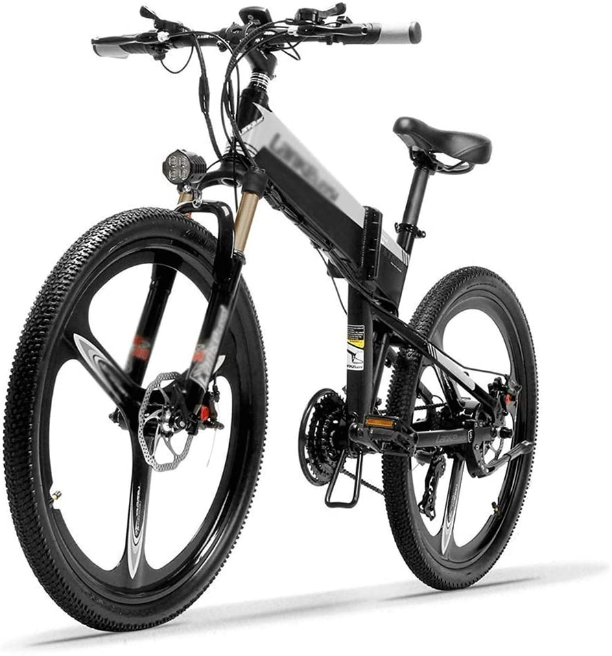 qx Scooter 26'' Folding Ebike 400W 12.8Ah Removable Battery 21 Speed Mountain Bike 5 Level Pedal Assist Lockable Suspension Fork