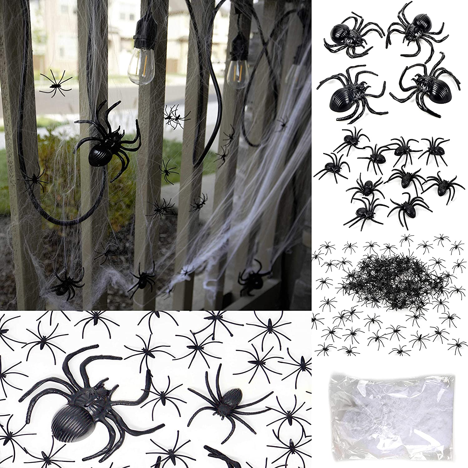 Youngever 175 Pcs Halloween Spider Decorations with 800 SQ Feet Web - 160pcs Small Spider & 10pcs Medium Spider & 4pcs Big Spider & 1pcs Spider Web Decorations - Halloween Party Favor