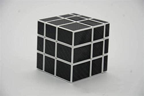 LeFun 3x3x3 Carbon Fiber Sticker Mirror Magic Cube 5.7cm Speed Puzzle Cube for Children Adults BK-WH