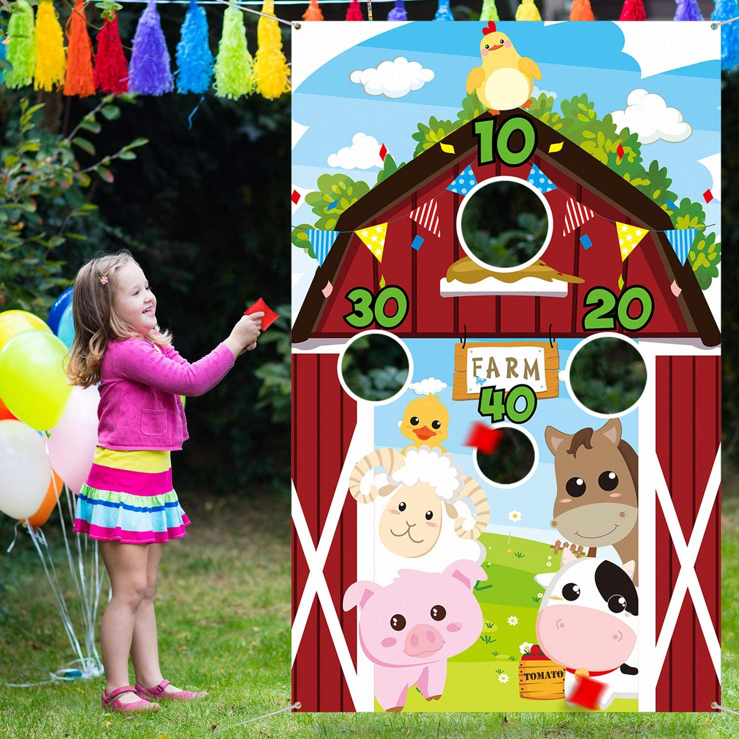 Farm Animals Toss Game with 3 Nylon Bean Bags, Indoor and Outdoor Farm Animals Party Game for Kids and Adults, Farm Theme Birthday Party Decorations and Supplies