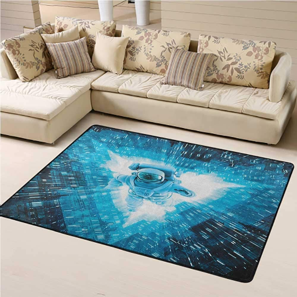 Living Room Carpet Astronaut Kids Play Rug Space Man Diving Into The Core Various Geometric Shapes and Triangle Space Adventures 4 x 6 Ft Blue