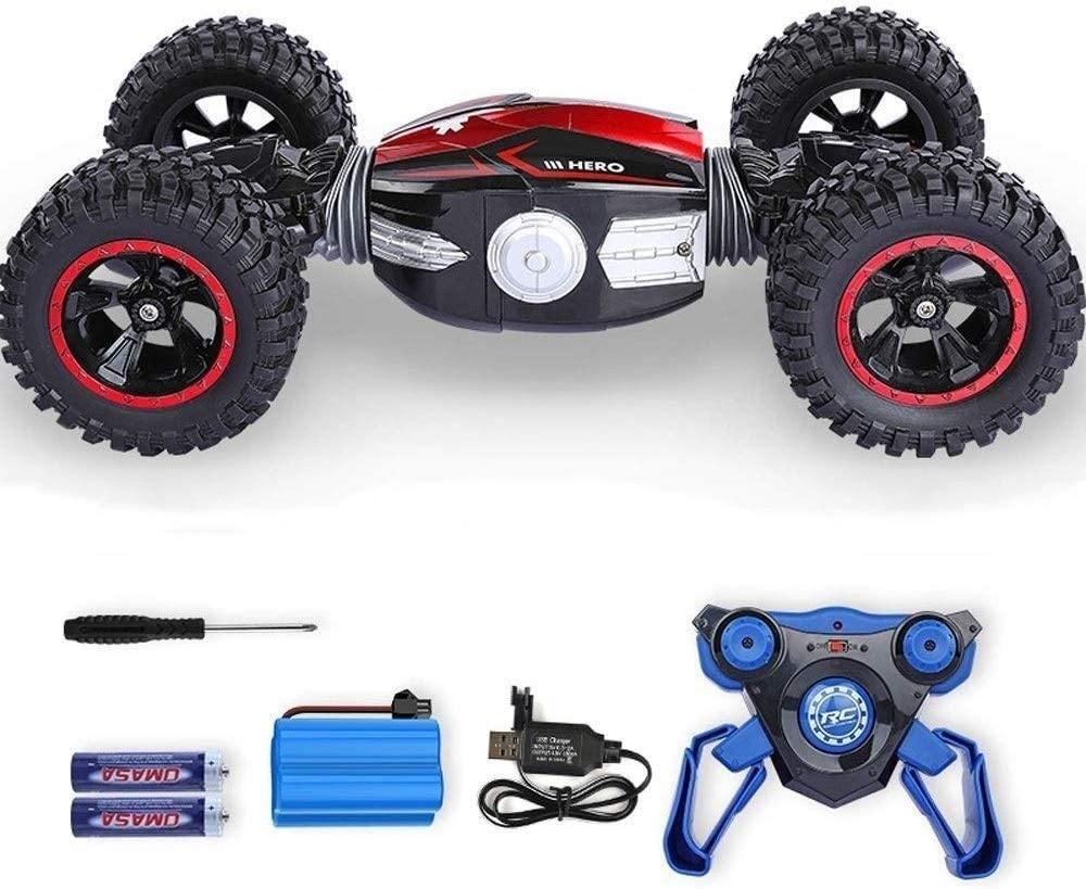 Xuess Rc Remote Control Stunt Car 2.4 GHz High Speed Radio Control Off Road Vehicle Remote Control Stunt Car 4WD Stunt Car Deformation Racing Vehicle Toy Children Kids Toy (Color : Red)