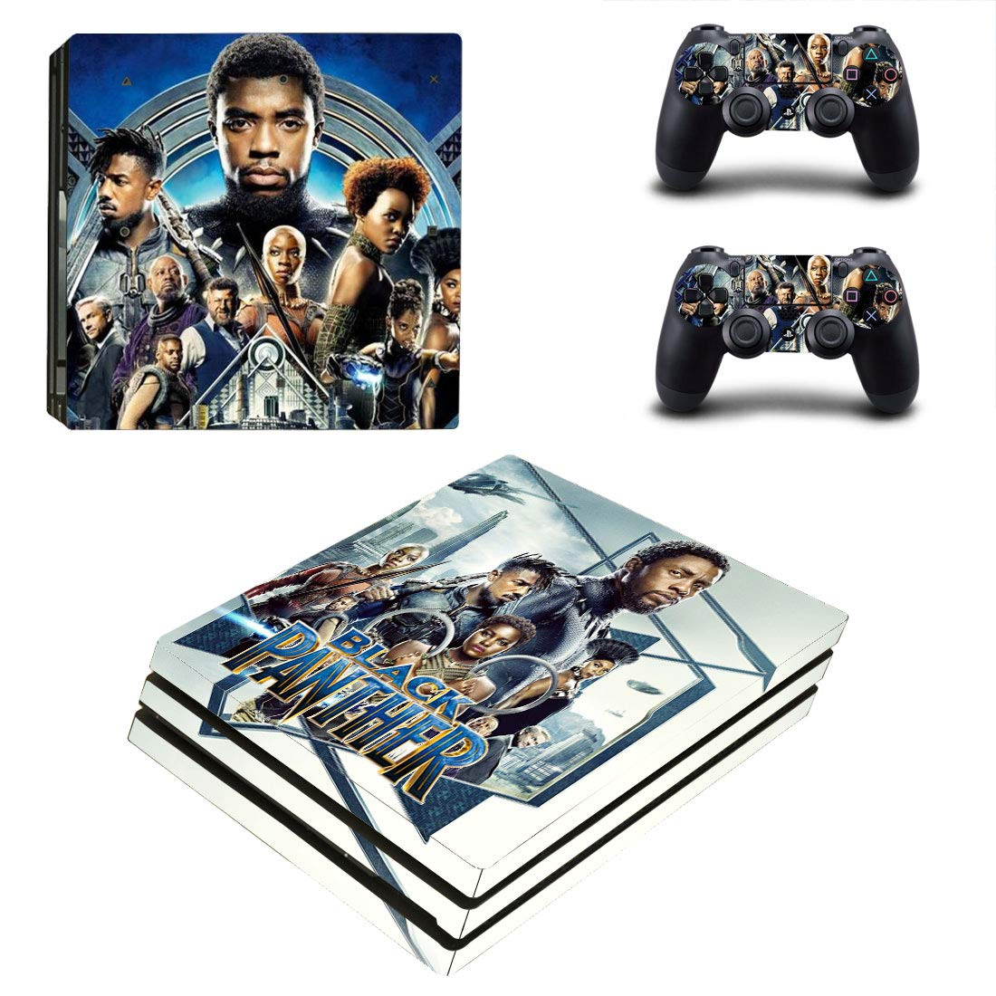 Adventure Games - PS4 PRO - Black Panther, Cast - Playstation 4 Vinyl Console Skin Decal Sticker + 2 Controller Skins Set