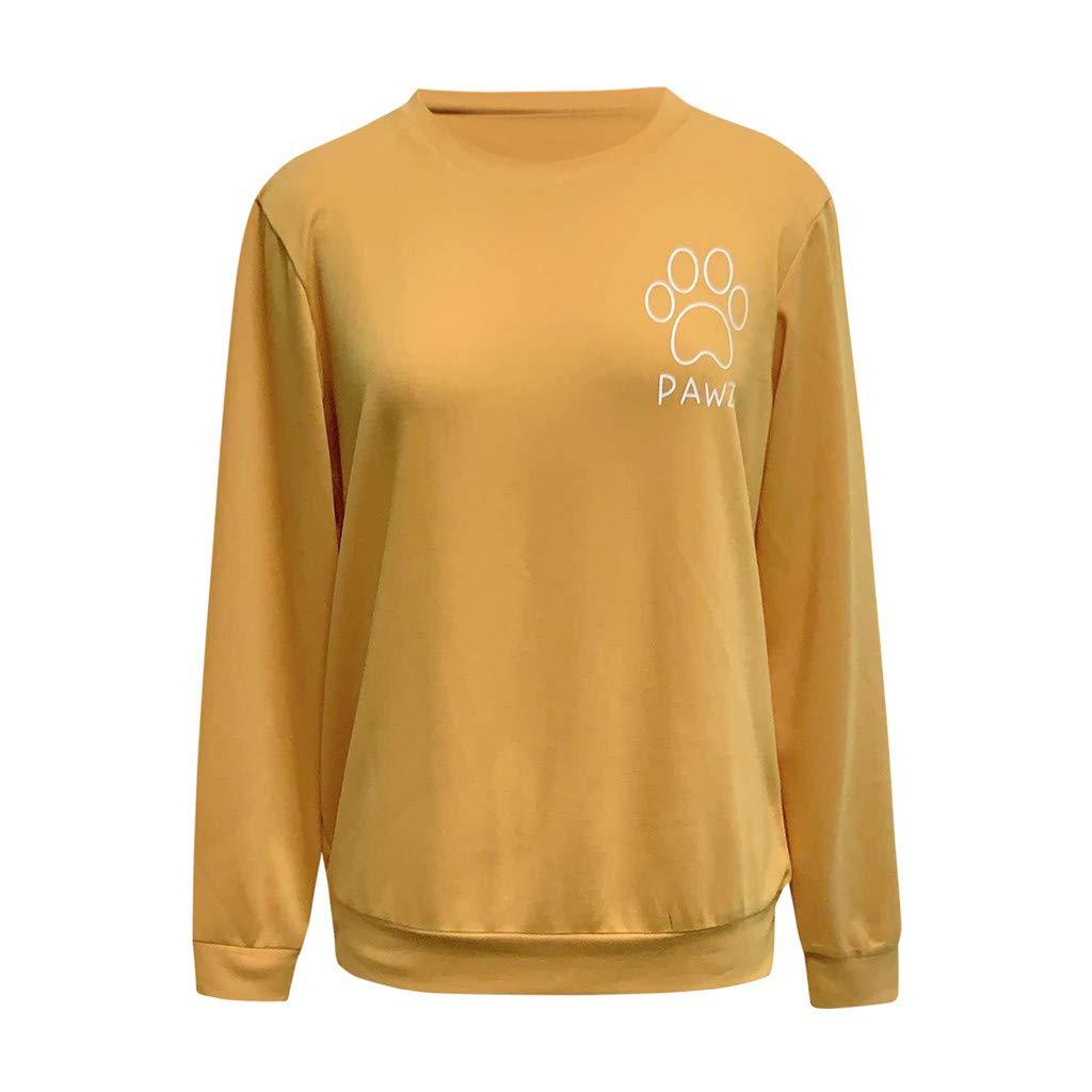 Leewos Women's Plus Size Dog Footprint with Sunflowr Sweater Sweatshirt Yellow Blouse