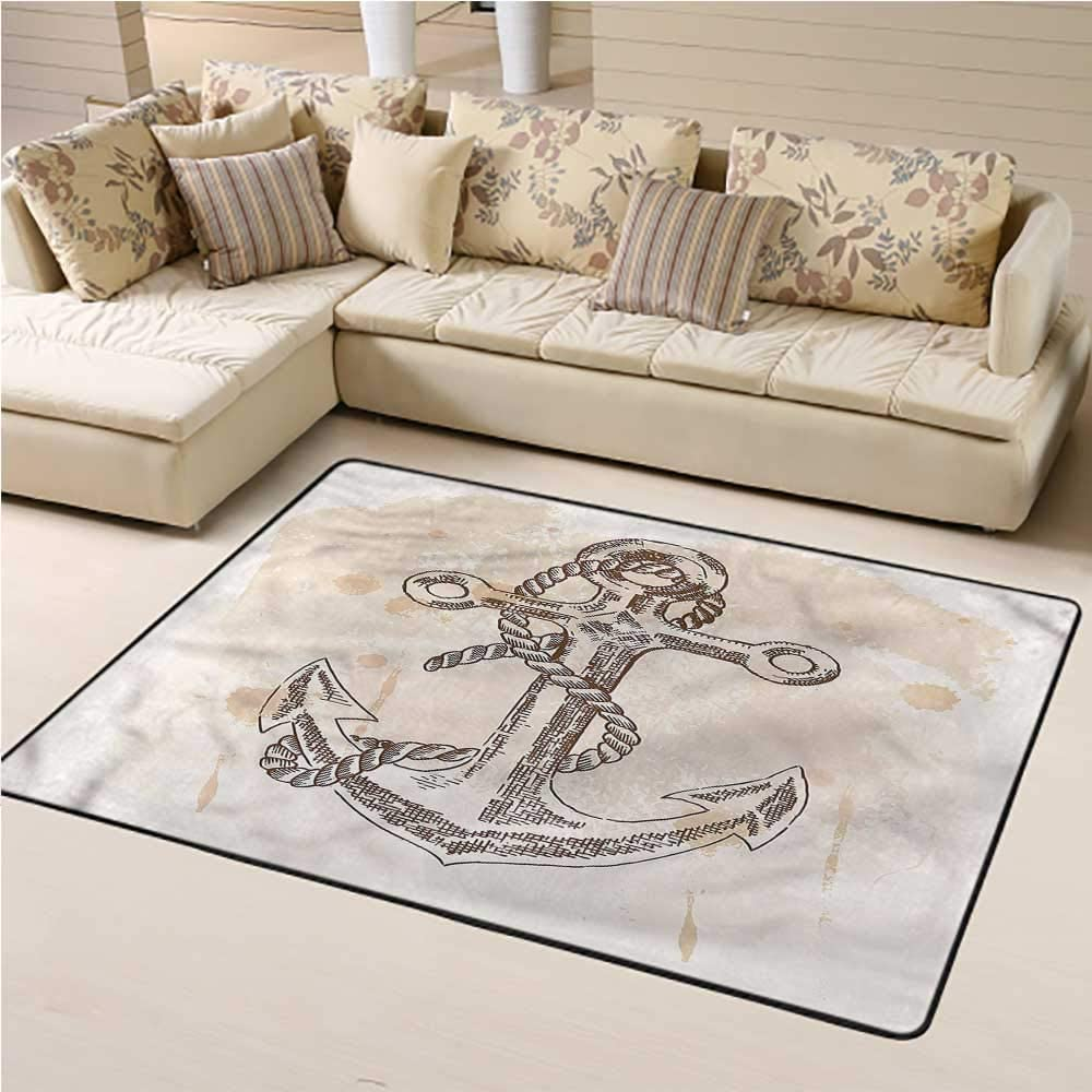 Outdoor Rug Anchor for Kids Playroom Navy Rope Summer Holiday 3 x 5 Rectangle