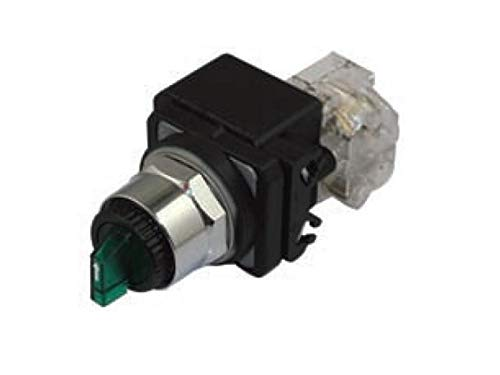 RADWELL VERIFIED SUBSTITUTE 800T-16HG2KB6-SUB SELECTOR SWTICH - Illuminated (Green), 120VAC, (Contact Block NOT Interchangeable W/OEM), Replacement of Allen Bradley 800T-16HG2KB6, 2 POS