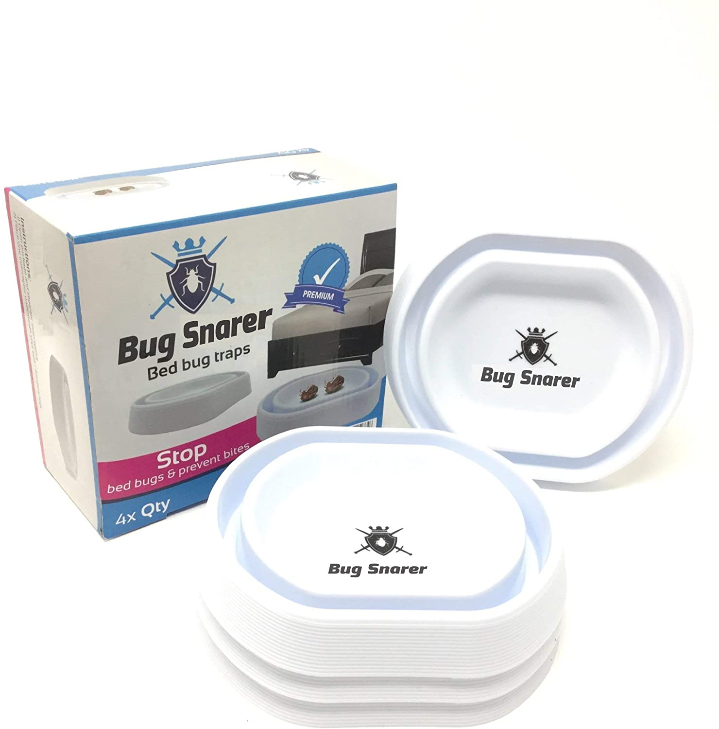 Bug Snarer Bed Bug Trap | Bed Leg Protection and Bedbug Prevention | Eco Friendly and Baby Safe Bed Bug Detector | Premium Bed Bug Interceptors, Detectors, Traps for Bed Bugs Treatment (4 Pack)