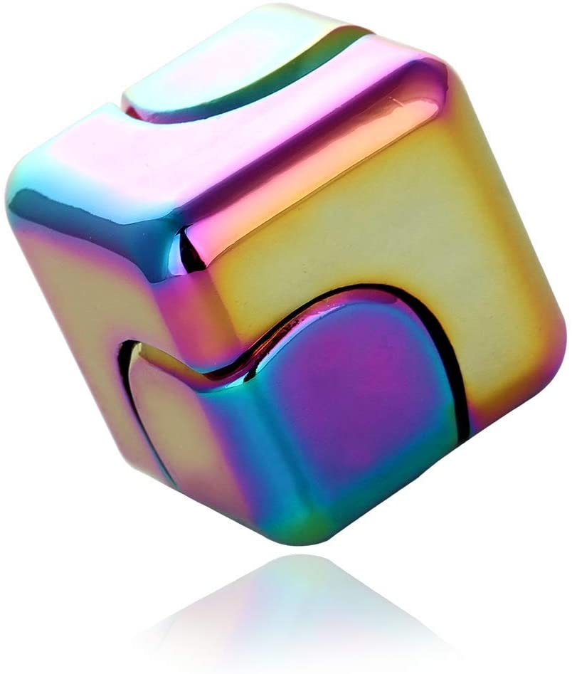 MENGDUO Colorful Square Decompression Cube, Desktop Decompression Toys,High-Speed Bearing Rotating Toys (Multicolor)