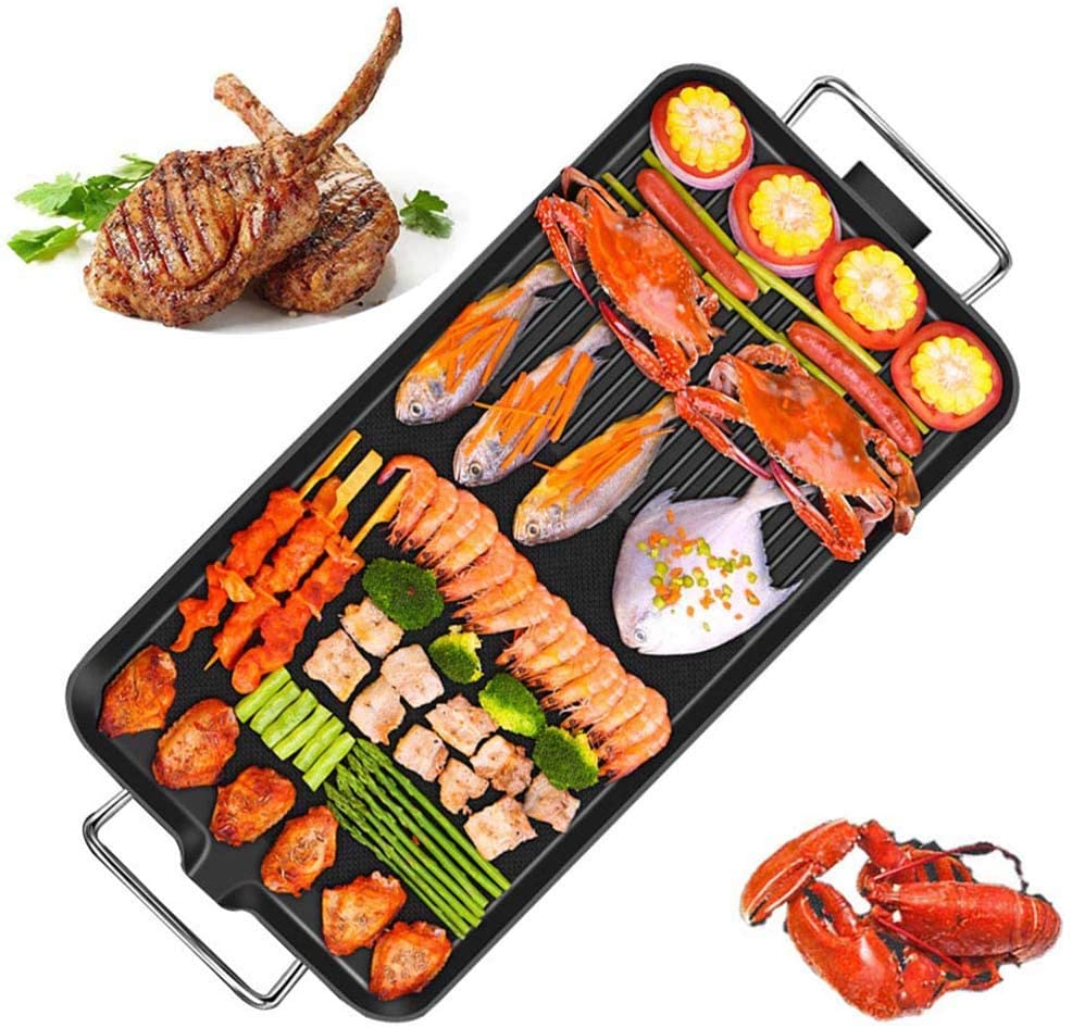 XNDCYX Teppanyaki Griddle Electric, Electric Griddle Nonstick Large Pancake Griddle Electric Teppanyaki Table Top, 1400-1700W, for Barbecues: Steaks, Pork Chops,Extra Large+ Ten Accessories