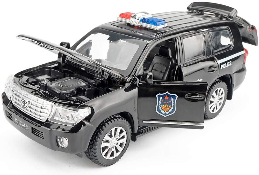 Kikioo Mini Simulated Friction Powered Pull Back Metal Police Car Opening Doors With Sound And Light Pullback Action Detailed Interior Kids Toy Gift Decoration Children Education Toys Birthday Black