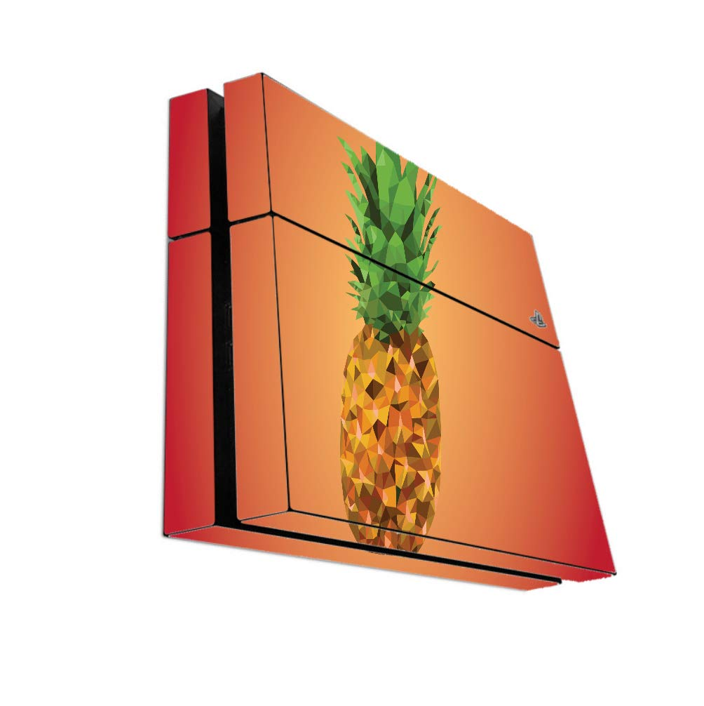 Polygon Pineapple Red And Orange Background Vinyl Decal Sticker Skin by egeek amz for Playstation 4 PS4 Console