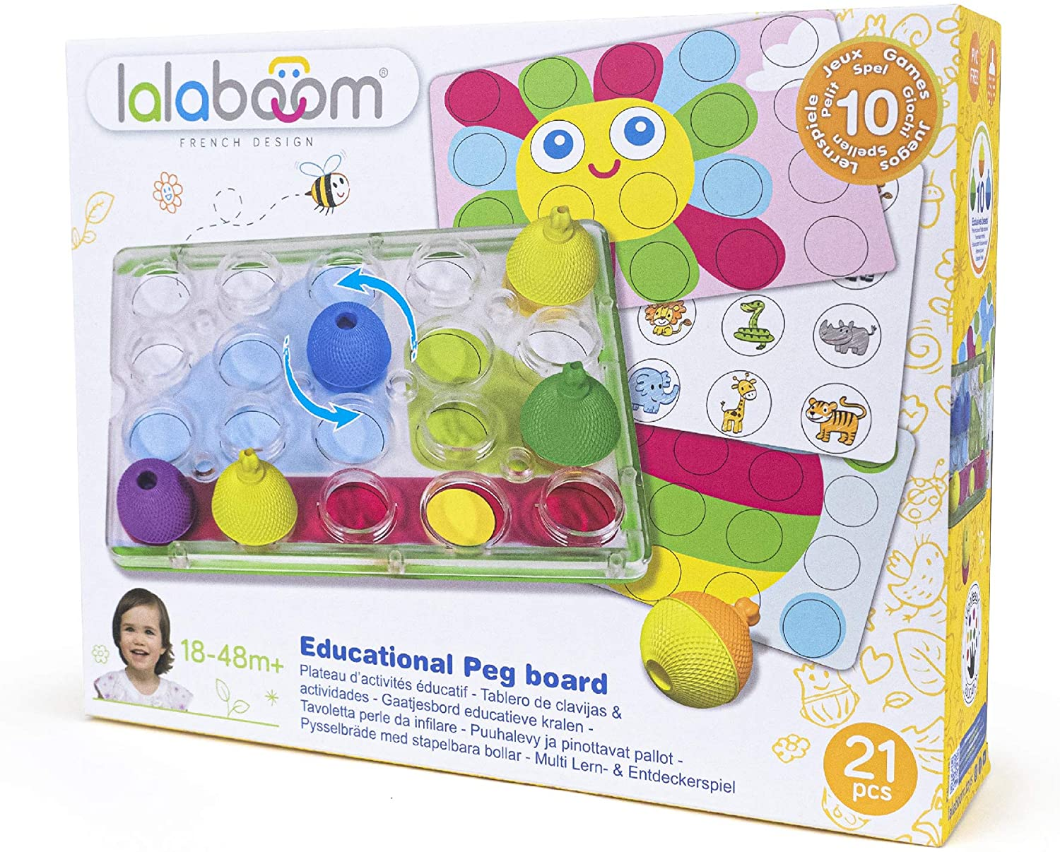 Lalaboom – 16 Piece Activity Pegboard – Montessori Educational Shape and Color STEM Construction Toy 18 Months to 4 Years - BL710