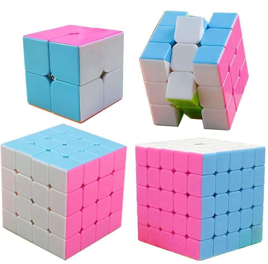 HJXD global Magic Cube Set 4 Pack 2x2x2 3x3x3 4x4x4 5x5x5 Stickerless Speed Cube Pink