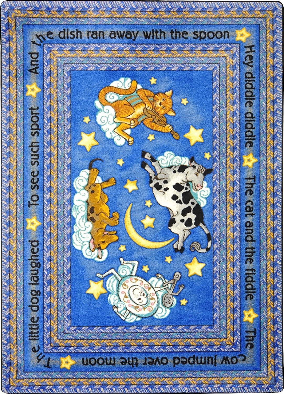 Joy Carpets Kid Essentials Infants & Toddlers Hey Diddle Diddle Rug, Blue, 7'8