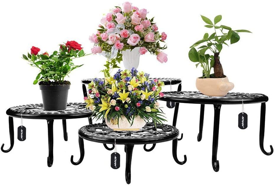 Metal Plants Stand Flowerpot Holder Iron Art Pot Holder, AISHN Flower Pot Supporting Indoor Outdoor Garden Pack of 4pcs with Different Size (Black)