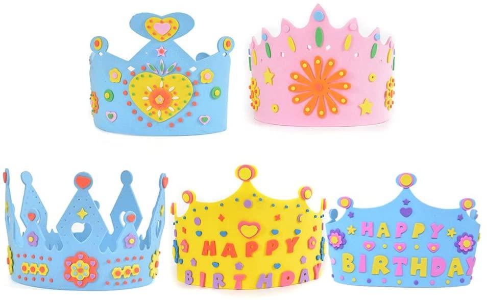 BESTOYARD 5pcs Cake Birthday Party Hats Kids Birthday Crown DIY Hat Craft Toy for Boys Girls