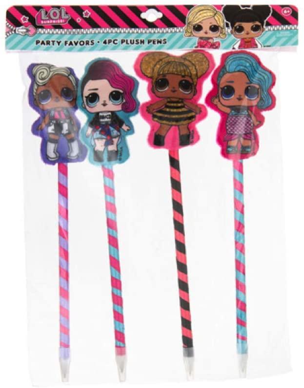LOL Surprise Party Supplies, Party Favors Collection - 4PC Plush Doll Pen Set