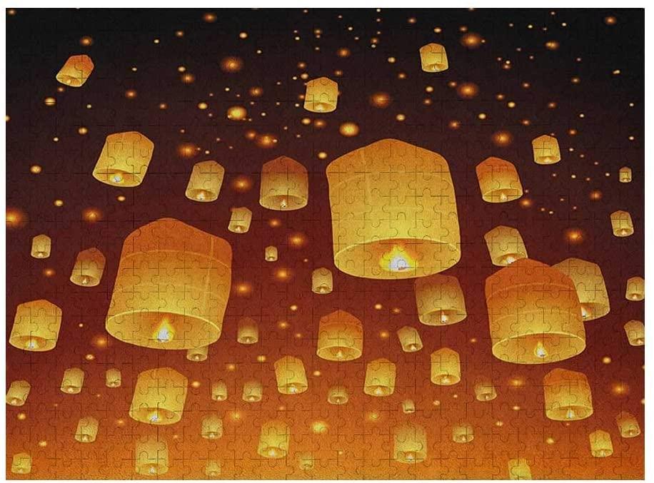 GugeABC Lantern 3D Puzzle 500 Piece, Loy Krathong and Yi Peng Festival Thailand Culture Traditional Old Celebrations, Black Orange