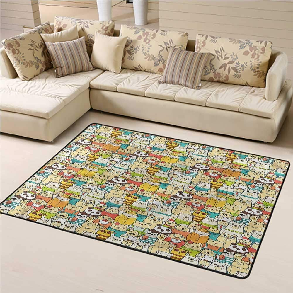 Rugs Kids, Teddy Bears Doodle Comic Faux Fur Rug Bedside Rugs Suitable for Children to Play 6 x 9 Feet