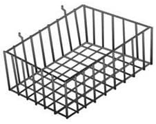 3pc, 12 x 8 x 4 inch Black Mini Wire Grid Basket for Slatwall or Pegboard