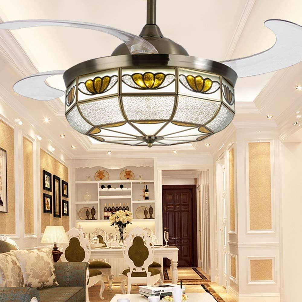 DLGGO Moroccan Style 42 Retractable Ceiling Fan with Ligh, Ceiling Fan Chandelier with Remote 3 Colors Change, 4 Blades Retractable Fans Chandelier Mute Motor for Bedroom Living Room Dining Room