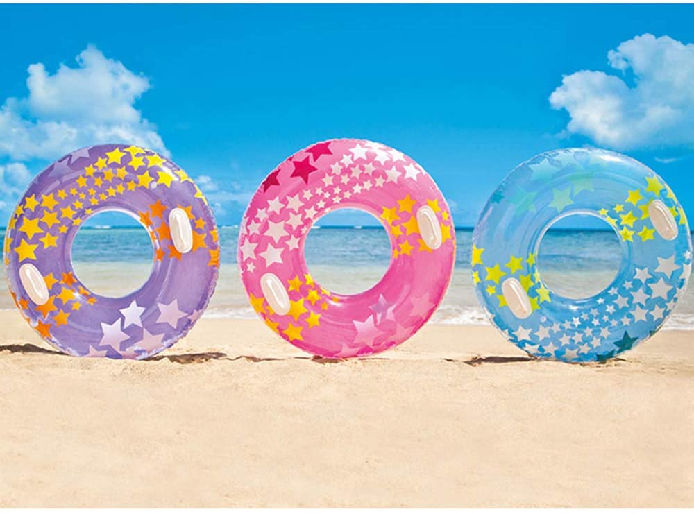 Adult and Children Floating Ring Swimming Ring, Inflatable Color Five-Pointed Star Swimming Ring, with Handle, Summer Beach Floating Party, Beach, Pool Raft (Random Color)