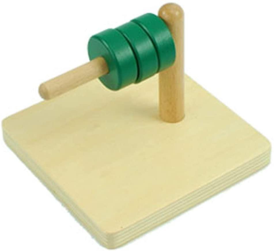 BST Toys- Montessori Material Math Kids Sensory Preschool Teaching Learn Discs on Horizontal Dowel Education Wooden Toys (Discs on Horizontal)
