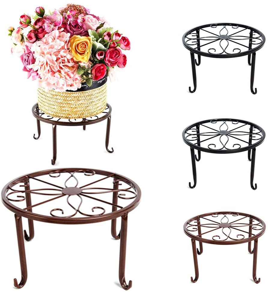 4 Pack Plant Stand Metal Potted Flower Stands Indoor/Outdoor Clearance Flower Pot Holder Display Shelf Garden Balcony Home Patio Display Rack Decor(2 Black+2 Copper)