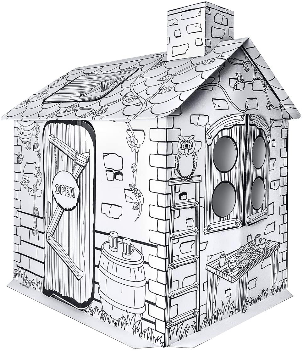 IREENUO Kids Playhouse, Indoor Outdoor Cardboard Playhouse for Boys and Girls ( Best for Ages 3 and Up)