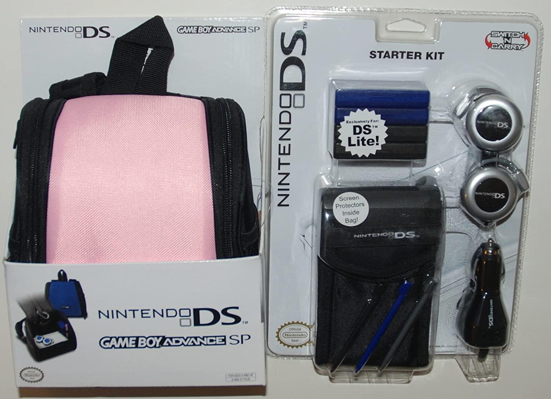 Nintendo DS Lite Pink Backpack and 12 Piece Black Starter Kit Set