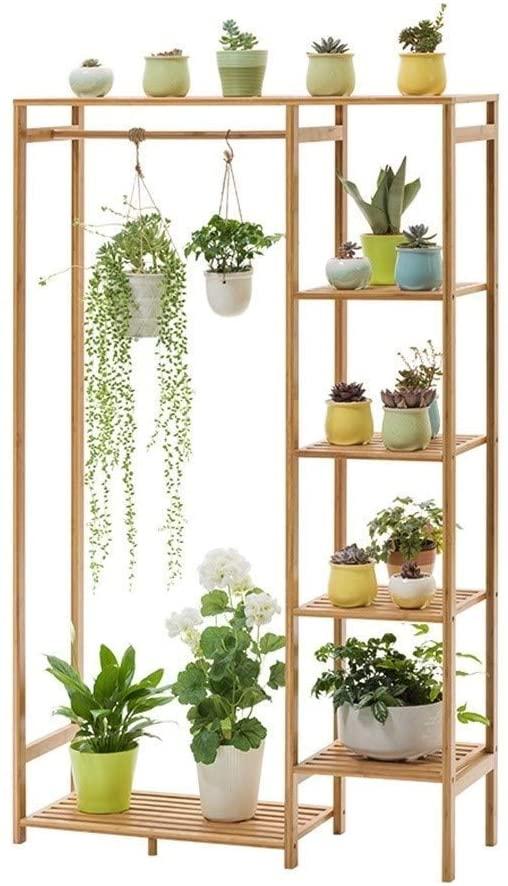 QNN Plant Stands,Pot Rack Wooden Flower Stand 5-Tier Hanging Plant Stand Planter Shelves Indoor Outdoor Home Bonsai Display Stand Flower Pot Organizer Storage Rack Decorative Flower Pots,Khaki,90Cm3