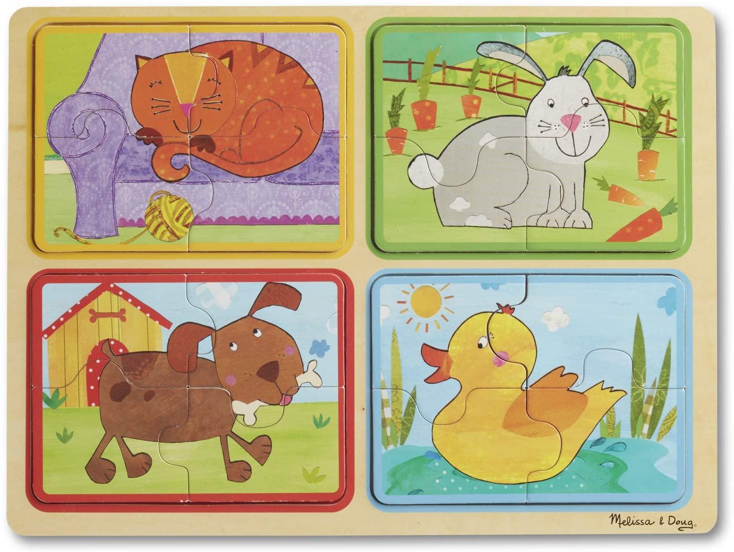 Melissa & Doug Natural Play Wooden Puzzle: Playful Pals (Four 4-Piece Animal Puzzles)