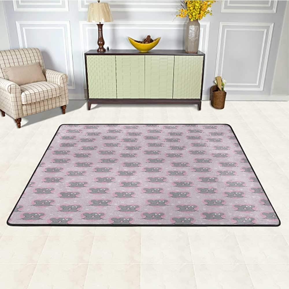 Pink and Grey Rug 4' x 6', Little Mouse Characters with Hearts on Striped Backdrop for Toddler Nursery Kids Play Rug, Pink Grey